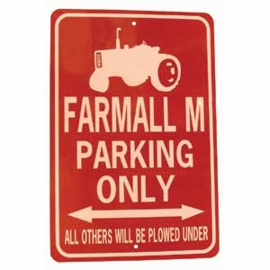 Farmall M Tractor Parking Only Sign White/Red