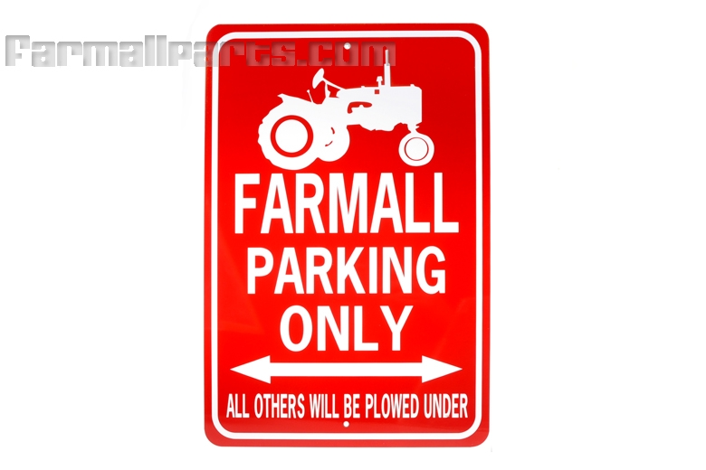 Farmall Tractor Parking Only Sign White/Red