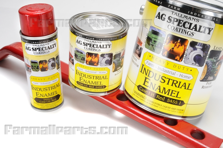 This is the correct tint heavy duty industrial enamel IH paint for Farmall Implements.                                    Our fade resistant, rust resistant paint is high gloss and ideally suited for working                                    tractors and show tractors alike.