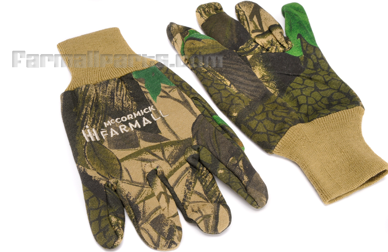 Farmall Gloves - Rubberized  Dotted  Palm ,  Jersey camo