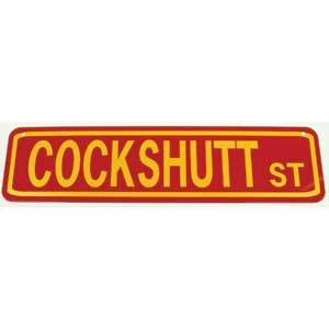 Cockshutt St Sign Yellow on Red
