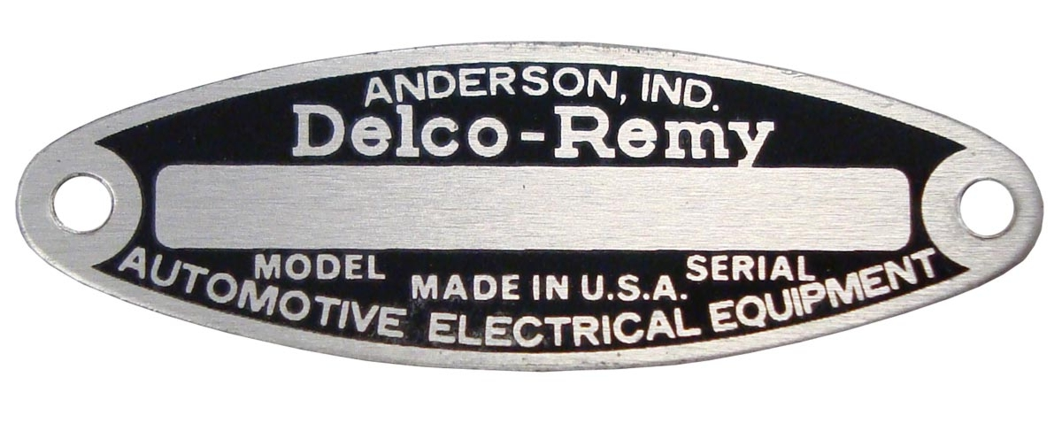 BLANK STARTERGENERATORDISTRIBUTOR TAG FOR 6 VOLT DELCO REMY, WITH 2 RIVETS