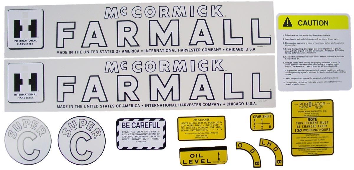 Decal Set Farmall Super C Decals And Emblems Farmall Parts Farmall Super C 12 Volt Wiring Diagram Farmall Super C Parts Diagram On Decal Set Farmall Super C
