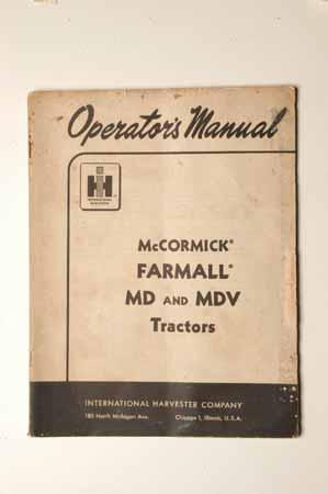 IHMANUAL  McCormick Farmall MD and MDV Tractors Operator's Manual