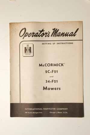 OPERATOR'S MANUAL2C-F21 AND 34-F21 MOWERS