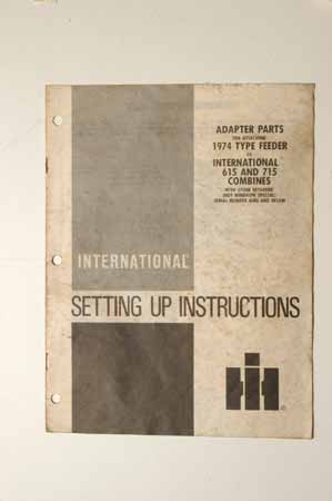 Setting up instrucions-Adapter parts, 1974 type feeder, international 615 and 715 combines