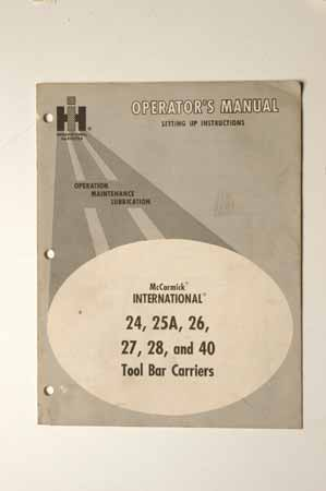IHMANUAL International 24,25A,26,27,28 and 40 Tool bar carriers