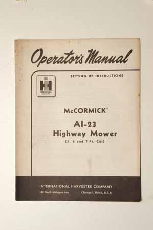 IH MANUAL-McCormick Farmall AL-23 highway mower