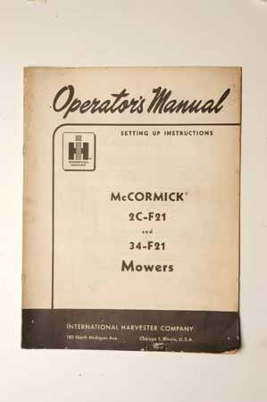 IH MANUAL-McCormick Farmall 2C-F21 and 34-F21 mowers
