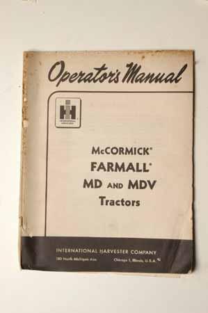 IH Operators MANUAL-McCormick Farmall MD and MDV tractors