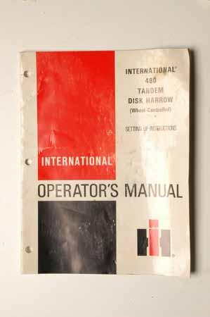 Operators manual 480 Tandem Disk harrow Setting Up directions.