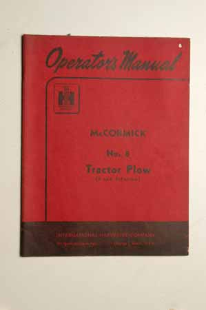 IH  Operator's MANUAL McCormick No. 8 Tractor Plow