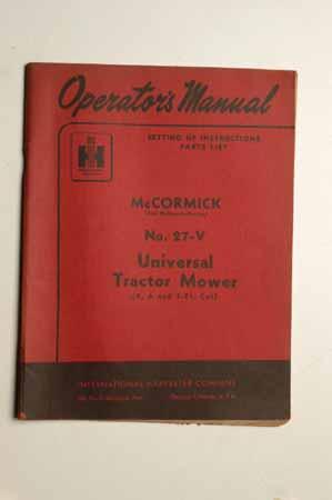 IH  Operator's MANUAL McCormick No.27-V Universal Tractor Mower
