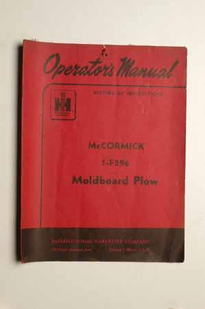 IH  Operator's MANUAL McCormick 1-F296 Moldboard Plow