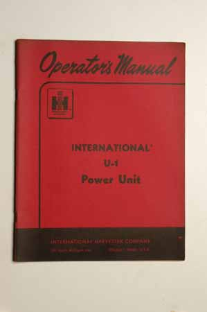 IH  Operator's MANUAL International U-1 Power Unit