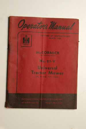 Operator's MANUAL McCormick No 27-V Universal Tractor Mower