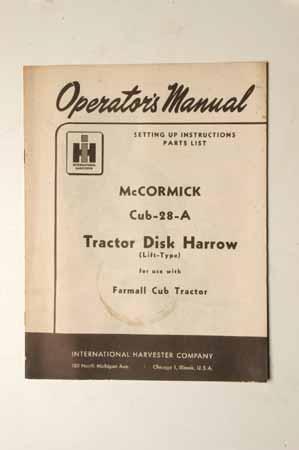 IH Operator's MANUAL McCormick Farmall Cub-28-A Tractor Disk Harrow(Lift Type)