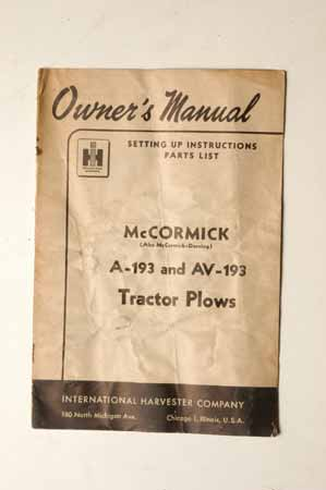 McCormick A-193 and AV-193 Tractor plows