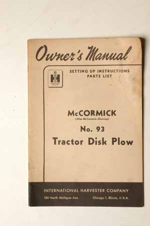McCormick no. 93 Tractor disk Plow