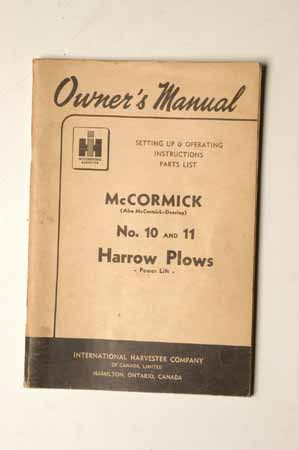 McCormick no. 10 and 11 harrow Plows