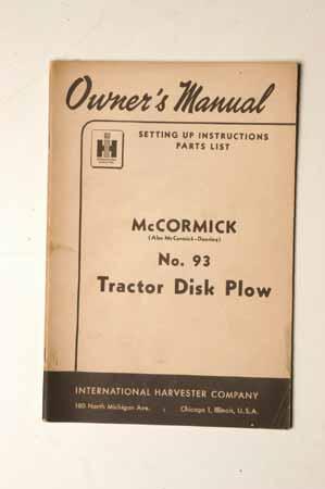 McCormick No.93  tractor disk plow