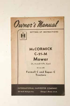 International McCormick C-21-M Mower Owner's Manual