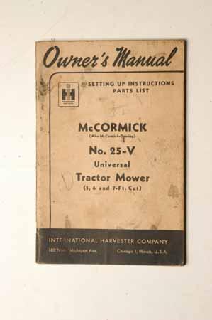 McCormick No. 25-V Tractor  Mowers
