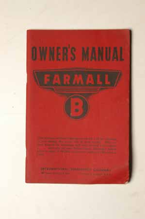 Owner's Manual Farmall B Original in great shape