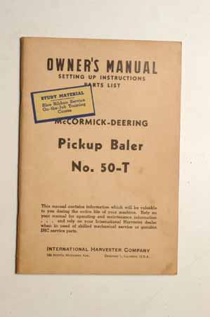 Owner's Manual McCormick- Deering Pickup Baler No.50-T