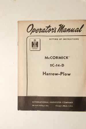 Owner's Manual McCormick 2C-14-D Harrow-Plow