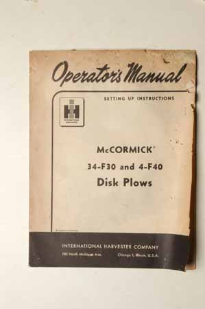 McCormick 34-F30 and 4-F40 Disk Plows