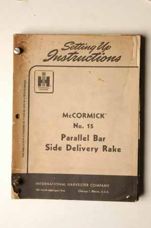 Setting Up Instructions for McCormick No. 15 Parallel Bar Side Delivery Rake