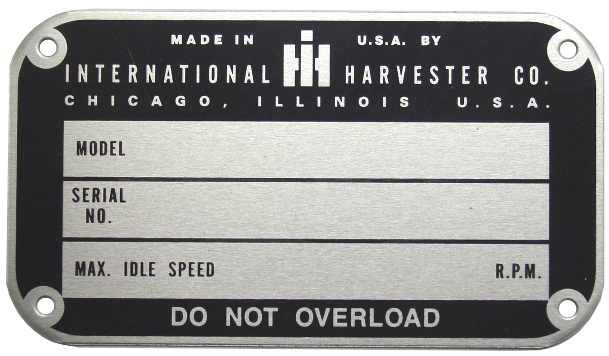 International Harvester Part Numbers : Data plate later style serial number up