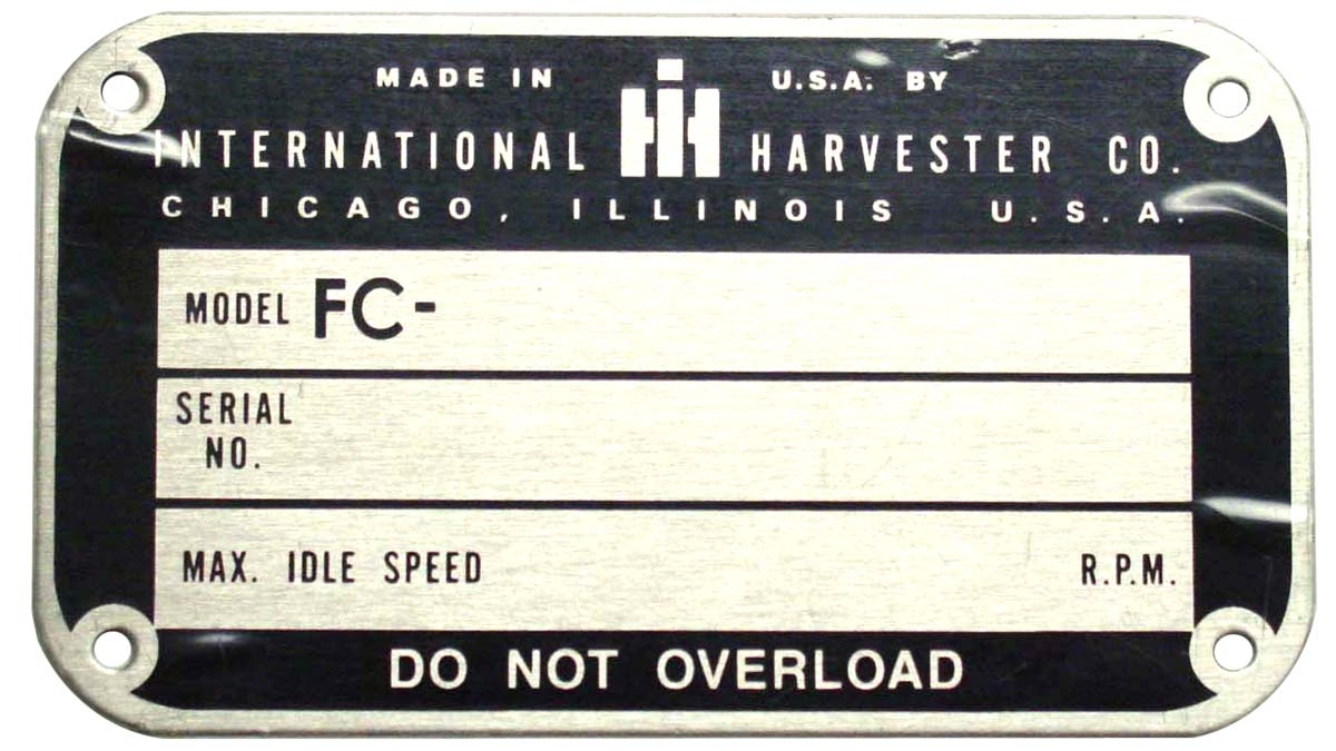 LATER STYLE SERIAL NUMBER TAG (1950 & UP)