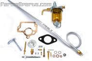 Kit includes; sediment bowl, new fuel line to carburetor and carburetor rebuild kit.   Kit replaces fuel system wear items in the Farmall H, HV, which use the 50981DA or 50981DB carburetor (most all Farmall H models do.)