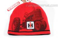 This beanie style hat is reversible. It has a tractor and IH emblem on each side. one side black and one side red  Keywords: Hat, cap, beanie, knit, stocking.
