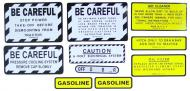 MYLAR MISC DECAL SET -- 9 PIECES --- SPECIAL ORDER ONLY. ALLOW ONE ADDITIONAL WEEK FOR DELIVERY CAUTION: INSPECT ALL DECAL PIECES BEFORE APPLYING TO TRACTOR. NO REFUNDS ON MYLAR DECALS IF APPLIED TO SURFACE AND / OR IF DAMAGED. NO REFUNDS ON VINYL CUT DECALS. STORE IN A COOL, DRY PLACE. D --- International Applications: IH/FARMALL 340 GAS