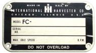 LATER STYLE SERIAL NUMBER TAG (1950 & UP) --- BLANK W/ RIVETS, 2-1/4 X 4 --- NOTE: THE FC IS ALREADY PRINTED; YOU STAMP YOUR SERIAL NUMBER --- International Applications: C (GOES ON SEAT BASE)
