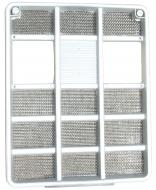FRONT GRILLE --- SILVER PLASTIC --- W/ BLACK METAL SCREEN INSERT --- 16-1/4 WIDE --- 20 TALL --- International Applications: 354, 364, 454, 464, 574, 674 INDUSTRIALS 2300A, 2400A, 2500A --- Replacement Part #: 537496R1