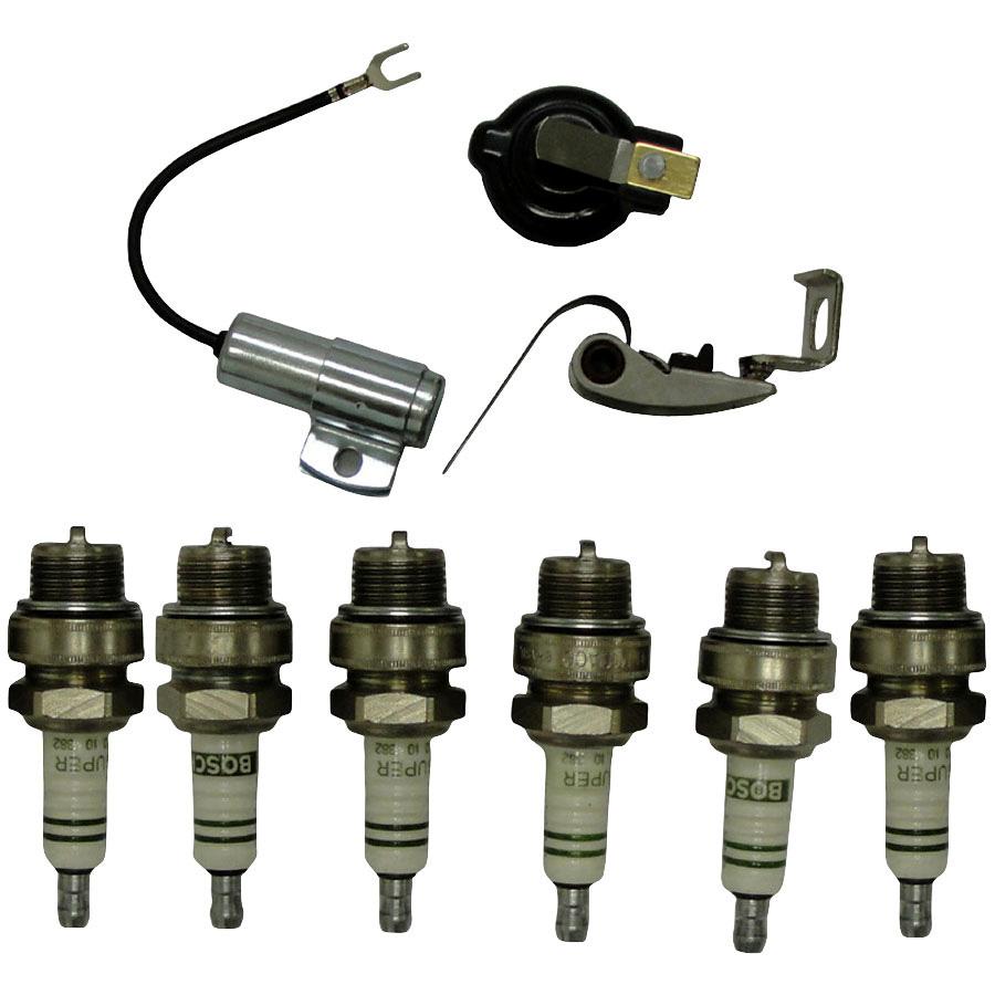 International Harvester Ign kit (inc. points, cond, rotor, plug) For battery ignition models 1963-on.  Includes air gap gauge. For 6 cylinder models.