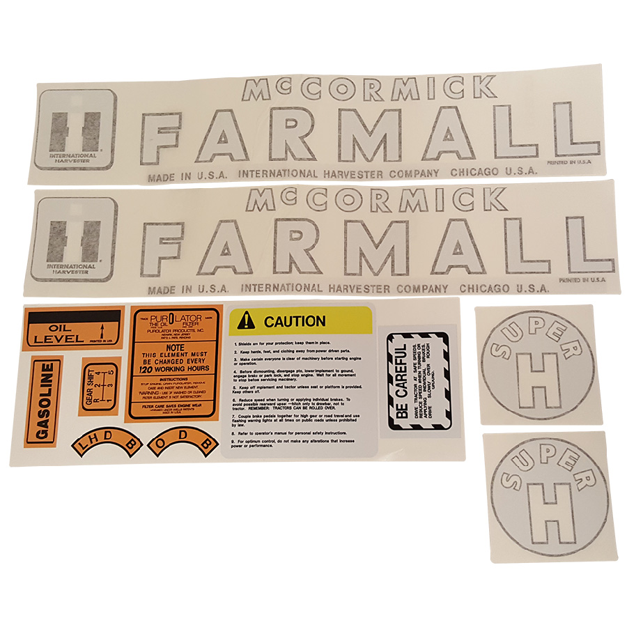International Harvester Decal Set Super H International Harvester Decal Kit