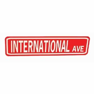 International Ave Sign White On Red