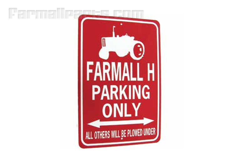 Farmall H Tractor Parking Only Sign White/Red
