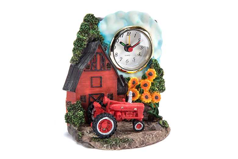 Farmall Resin Alarm Clock - Red Barn