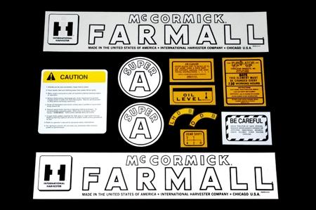 Decal Sets For Farmall/McCormick Farmall  Super A, 12 Pieces