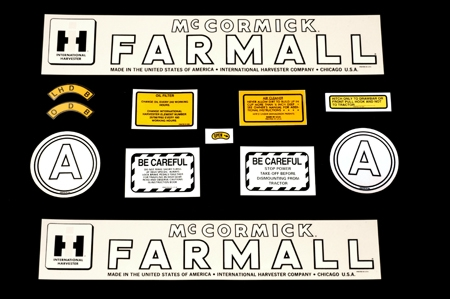 Decal Set for Farmall/McCormick/IH A, 12 pieces