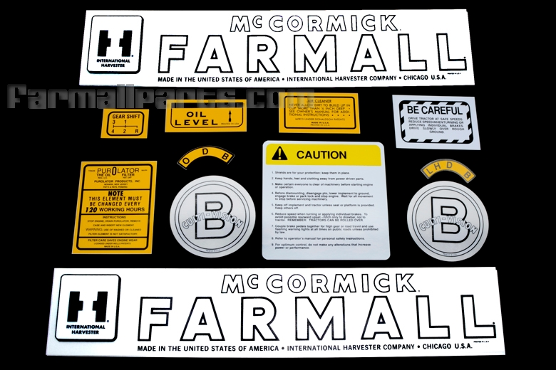 Decal - Farmall B Culti-Vision. Contains 12 pieces.