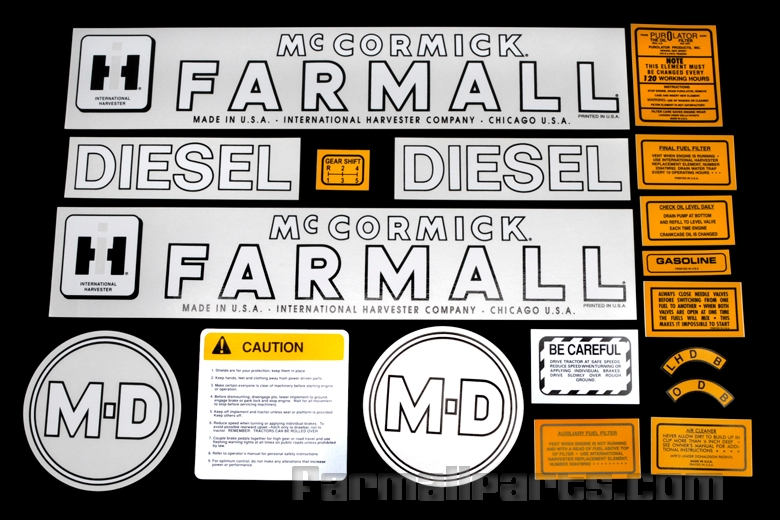 Decal set - Farmall Model MD. Contains 18 pieces.