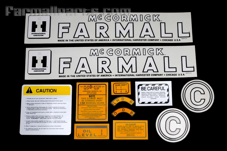Decal set - Farmall Model C. Contains 12 pieces.
