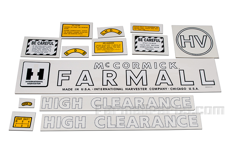 Farmall HV High Clear Decal Set